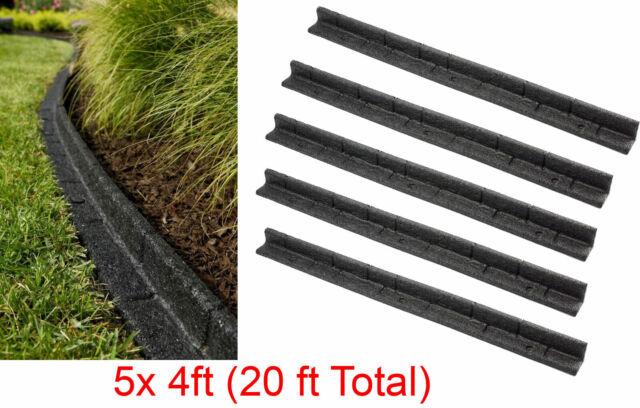 5PACK 4 Ft Landscape Edging Section Black Rubber Flower Bed Garden Lawn  Black
