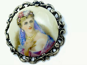 Vintage Large Beautiful Woman Silver Tone LIMOGES FRANCE Brooch GIFT BOXED