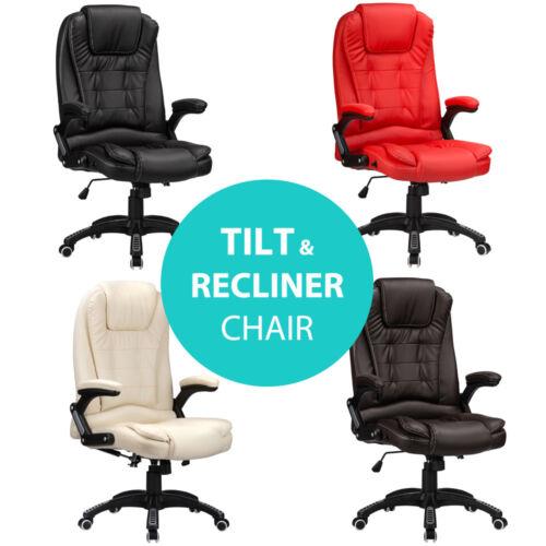 Inclinable Chaise de Bureau Luxe Pivotant En Cuir Synthétique Rembourré Ordinateur Étude raygar