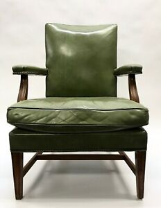 W-H-Gunlocke-Green-Leather-Office-Chair