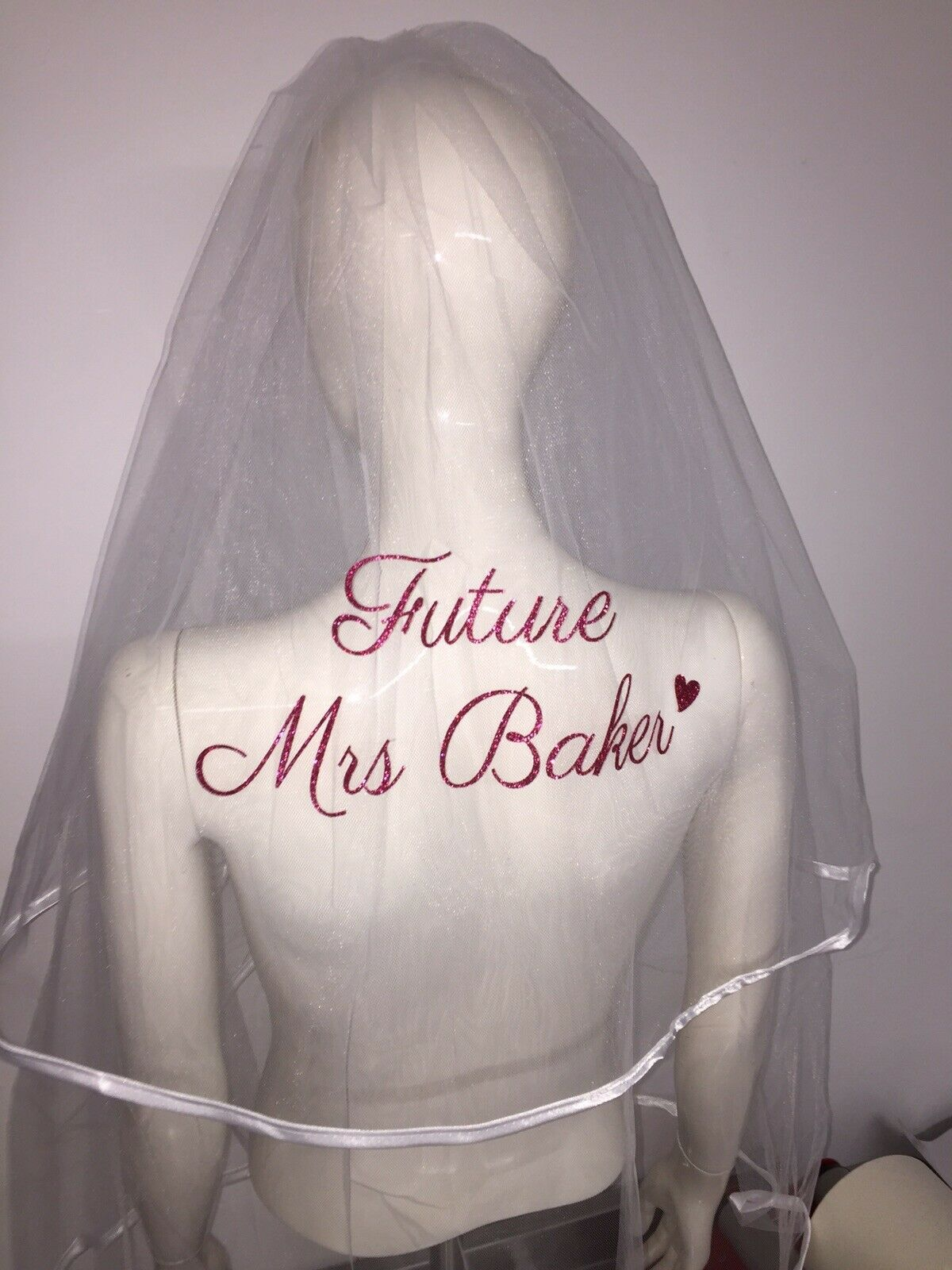 Personalised Hen Party Veil Glitter Heart Classy Best Price Fast Shipping Bride