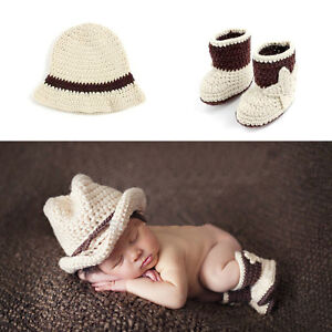 bd89c5e59d6 Image is loading Baby-Photography-Props-Cowboy-Crochet-Costume-Knitted- Newborn-