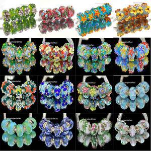 10p MURANO Lampwork charm Beads fit 925 silver European Bracelet Chain a344-1113