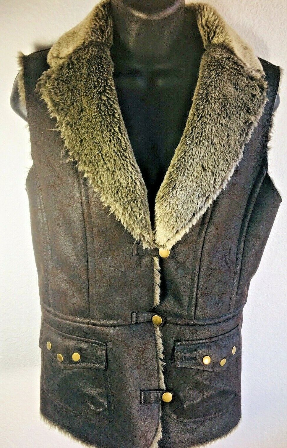 Montanaco SMALL faux leather and fur vest. Chocolate with full fur lining.