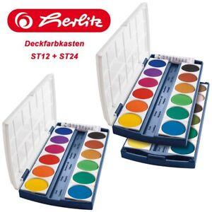 Herlitz Deckfarbkasten Farbkasten Malkasten Tuschkasten ST12 / ST24 Wasserfarbe
