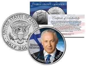 BENJAMIN-NETANYAHU-Israel-Prime-Minister-Colorized-JFK-Half-Dollar-U-S-Coin