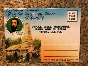 VTG-1959-Picture-Postcard-Book-Drake-Well-Memorial-PA-18-Color-Views-UNPOSTED