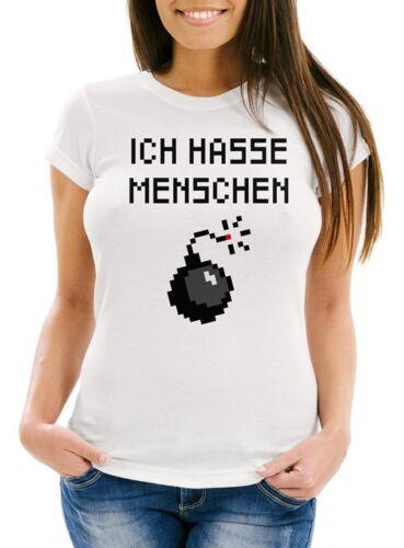 Damen T-Shirt Ich hasse Menschen Spruch Bombe Pixel Fun-Shirt Moonworks®