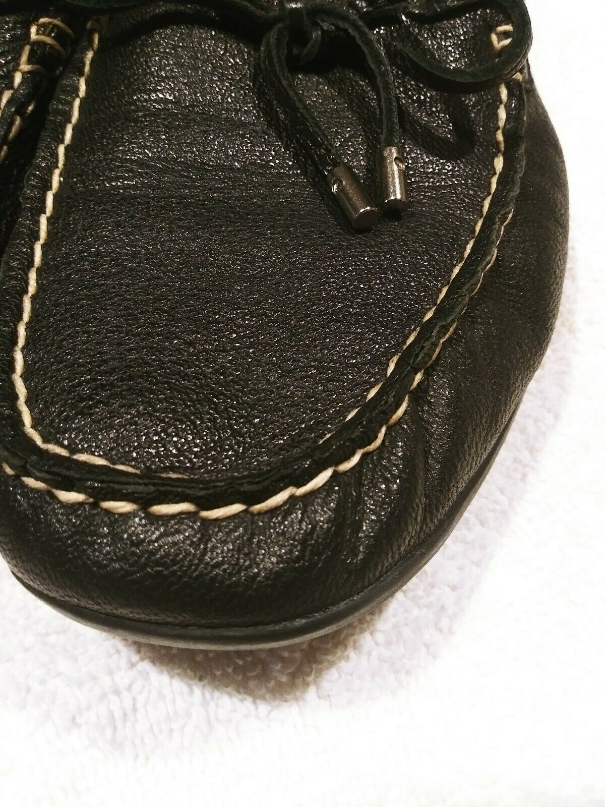 Womens Sperry Top-siders Black Leather With Tassels. Size 9