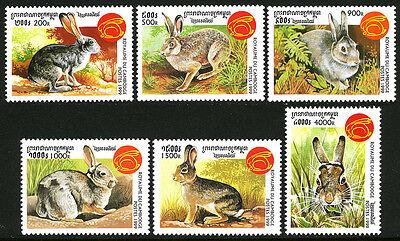 Various Rabbits 1999 Cambodia 1790-1795 year Of The Rabbit Mnh New Year