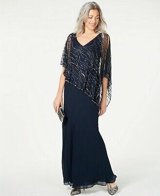 New $399 J Kara Women'S Blue Beaded Mesh