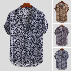Hawaiian-Mens-Summer-Floral-Shirt-Beach-Holiday-Short-Sleeve-Camp-Tee-Fancy-Tops