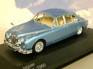Estupendo-WHITEBOX-de-metal-1-43-1960-JAGUAR-Mk2-MkII-Claro-Azul-Metalico-wb201