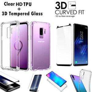 Pour-Samsung-Galaxy-S7-S9-S8-S10-Case-antichoc-Housse-en-silicone-3D-verre-trempe