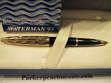WATERMAN CARENE ESS BLACK LAQ GT FOUNTAIN PEN FINE POINT NEW in BOX +BONUS INK