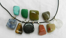 Natural Tumbled Gemstone Pendant on Thong - Choose Your Own Stone - BNWT