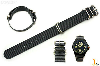 22mm Fits Luminox Nylon Woven Grey Watch Band Strap 4 Stainless Steel Rings