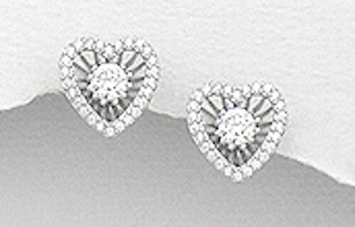 Solid Sterling Silver CZ Stud Earrings /& Heart Jacket 11mm SPARKLING BEAUTIES!!!