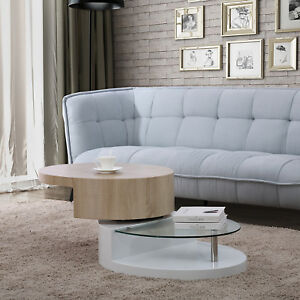 807b90ef7bd8 Details about 360° Rotating Oval Coffee Table Wood Top High Gloss White  Base with Glass Shelf