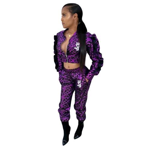 Women  Long Sleeve Zipper Ruffled Print Bodycon Casual Sport Jumpsuit 2pcs