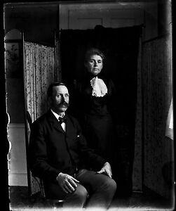 Antique-4x5-Glass-Plate-Negative-Portrait-of-Husband-amp-Wife-V4401