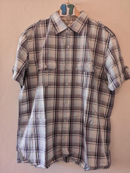 """(17) Uomo Shirt Manica Bhs Di Stile Check Camicia Grande 46"""""""