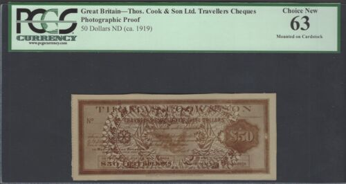 Great Britain- Thos. Cook & Son L.t.d 50 Dollars 1919 Photographic Proof UNC