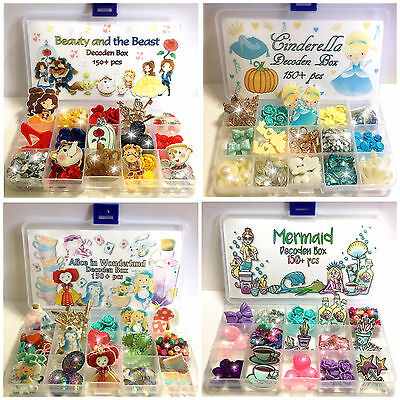 Decoden Box with Cabochons Pearls Jewels 150+ pcs inc Storage - Choice of Themes