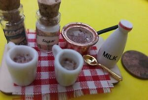 MAKING HOT COCOA. 1:12TH SCALE DOLLHOUSE ARTISAN OOAK NEW