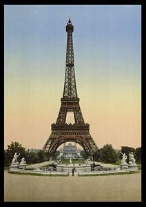 Ph04 vintage 1890 photochrom photo tour eiffel poster imprimer a3 a2 ebay - Image tour eiffel a imprimer ...