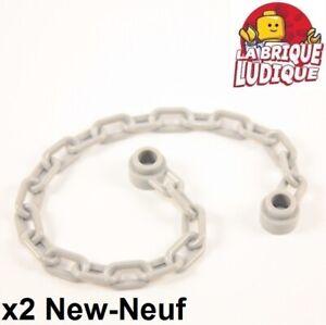 Lego 2x Chaine Chain 21 Links gris foncé//dark bluish gray 30104 NEUF
