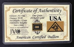 ONE-1-GRAIN-999-Fine-24k-Solid-Gold-Bar-Ingot-Bullion-with-COA-Minted-ACB