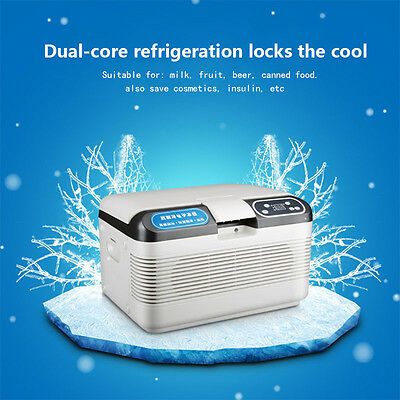 Portable Dual-Core Car Fridge Freezer Cooler Warmer 12V Camping Refrigerator 12L