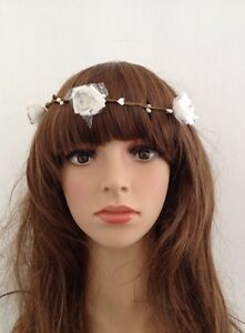 Lady white floral flower head hair band wedding festival garland image is loading lady white floral flower head hair band wedding mightylinksfo