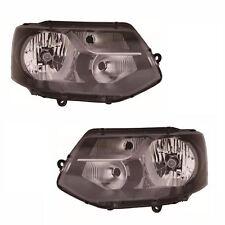 VW Transporter T5 Van 1/2010-2015 Black H4 Bulb Headlights Lamps Pair O/S & N/S