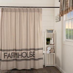 SAWYER-MILL-CHARCOAL-FARMHOUSE-Shower-Curtain-Country-Grain-Sack-Stripe-VHC