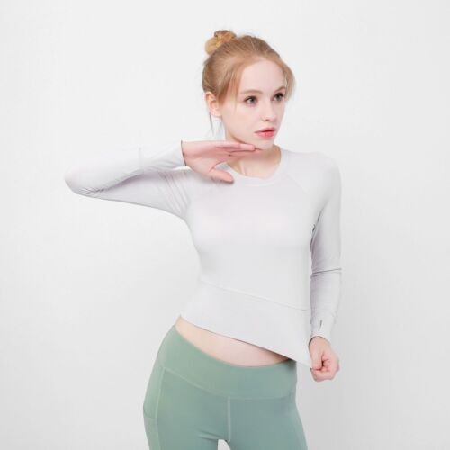 New Womens Yoga Shirt Crop Top Long Sleeve Workout Fitness Athletic Sports Gym