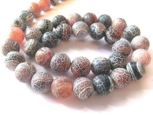 Achat 10mm azul gris rojo mate perlas alrededor de joyas perlas Edelstein 1 Strang #2