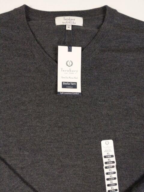 NWT Men/'s A//X V-Neck 100/% Merino Wool Sweater Linen Grey Blue