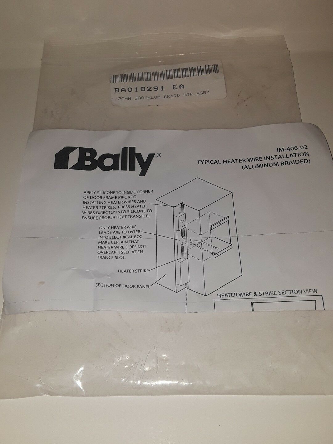 Bally Refrigerated Boxes 018291 Aluminum id Framer Heater Wire ... on