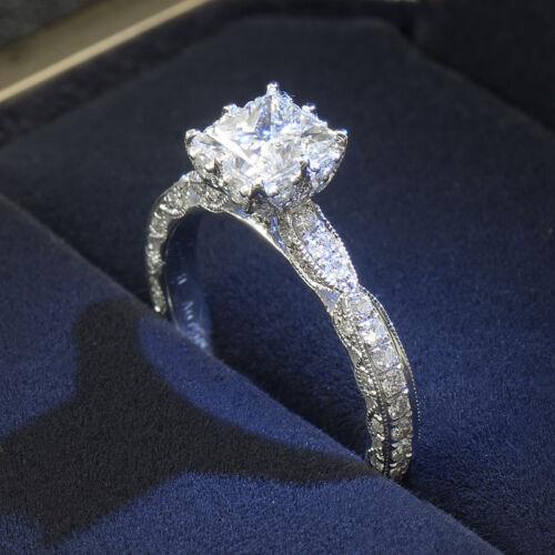 Femmes 925 Argent Coupe de princesse Blanc Topaze Anneau Mariage Fashion Jewelry Taille 4-10