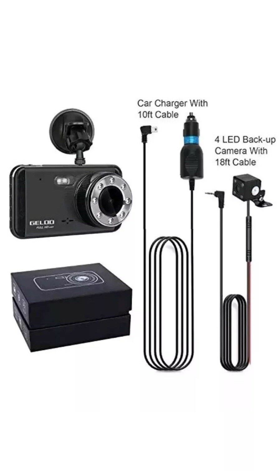 s-l1600 Dash Cam, GELOO 1080P 4.0 Inch Dual Car Dashboard Camera Front and Rear, 170 Wid