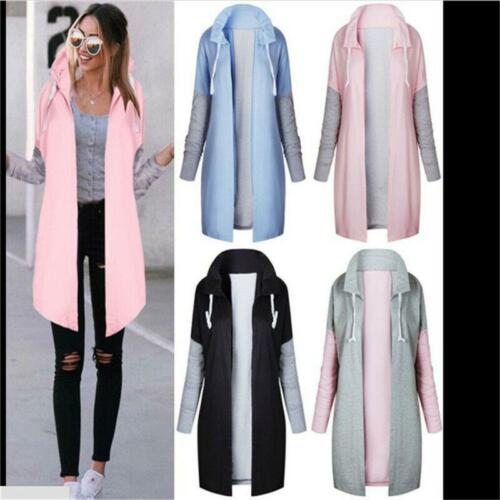 Womens Duster Wrap Over Pocket Trench Coat Cardigan Blazer Belted Jacket LA
