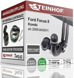 Anhaengerkupplung-starr-FORD-FOCUS-II-Kombi-2005-2011-E-SATZ-7-polig-NEU-ABE