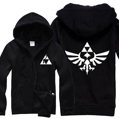 The Legend of Zelda Triforce Logo Link Hoodie Tee Cosplay Costume Jacket Instyle