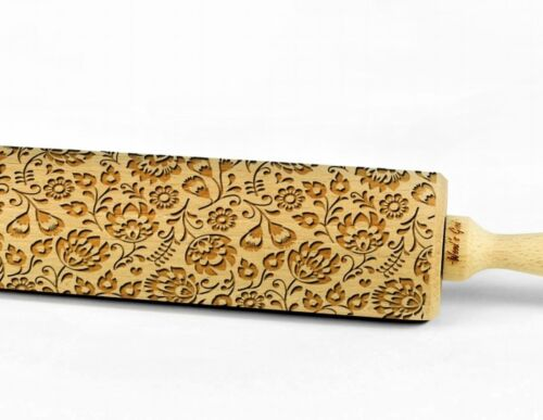 Engraved FOLKLORE PATTERNS rolling pin wooden laser cut pattern unique design