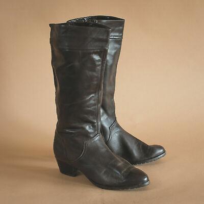 Onesto Vintage Anni'80 Anni'90 Donna Marrone Stivali Al Polpaccio In Pelle Con Tacco Uk 7.5 Eur 41.5 Us 9.5-mostra Il Titolo Originale