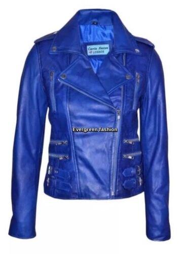 Ladies MYSTIQUE BLUE 7113 Rockstar Classic Motorcycle Designer Leather Jacket