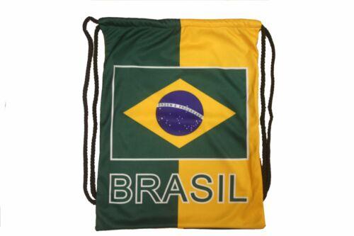 "BRASIL COUNTRY FLAG DRAWSTRING KNAPSACK BAG  SIZE 14/"" X 18/"" INCH"