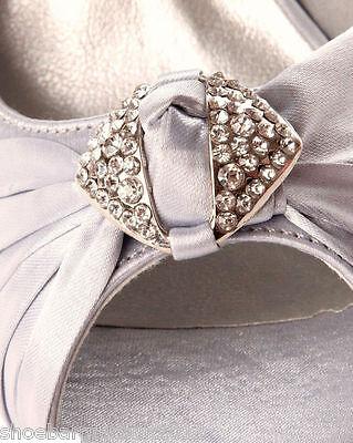Damen Hochzeit Braut Brautjungfer Elfenbein-weiß-silber Schwarzer Satin
